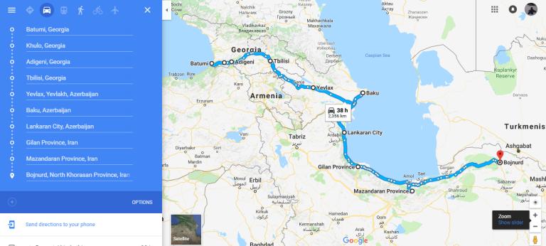Ruta Batumi(Georgia)-Bojnurd(Irán)